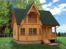 Дом-баня с высоким крылечком