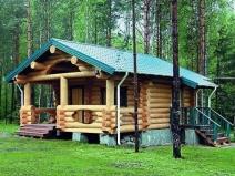 Бревенчатый дом-баня в деревенском стиле