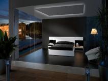 интерьер спальни с темными обоями
