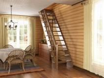 Деревянная лестница в комнате, один пролет