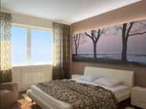 Спальня в хрущевке с фотообоями, которые увеличивают пространство