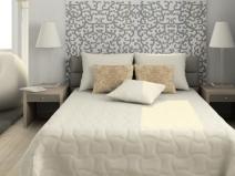 Спальня в светлых тонах: 2 вида обоев