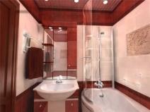 Маленькая ванна с душевой кабиной, вариант дизайна