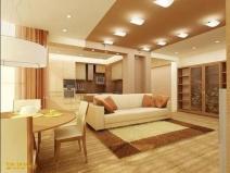 Дизайн маленького зала, совмещенного с кухней