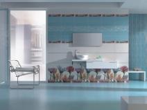 голубой кафель для ванной с растительным узором