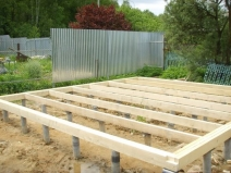 Монтаж столбчатого фундамента для бани