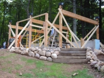 Монтаж деревянного каркаса бани