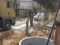 монтаж колец канализации