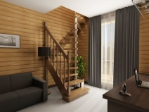 Деревянная лестница с опорной металлической стойкой