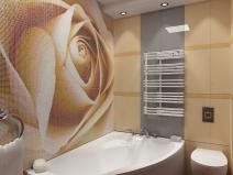 узор из мозаики в виде розы для ванной