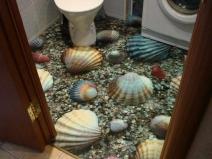 3D пол в ванной: морская тематика