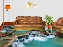 Объемный пол в гостинной: водный мир