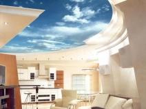 Навесной потолок с декорированием под облака