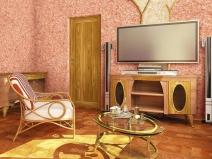 Дизайн гостиной с жидкими обоями на стенах