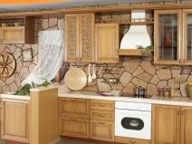 обои на кухню в виде натурального камня