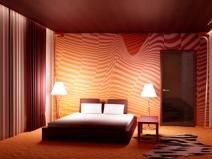 Спальня в красных тонах подойдет далеко не каждому