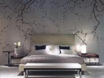 обои для спальни с рисунком в виде ветвей дерева
