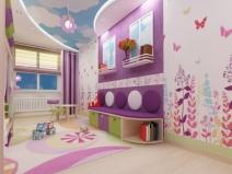 Дизайн детской комнаты - очень яркий вариант