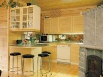 красивая отделка кухни вагонкой