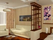 Зонирование однокомнатной квартиры перегородками