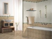 бежевая плитка для пола в ванной