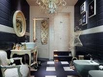 комбинированная плитка на полу в ванной