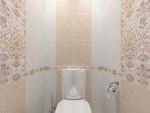 бежевая плитка для туалета с цветочным орнаментом