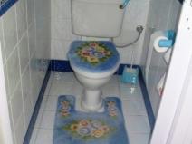 сочетание белой и голубой плитки в туалете