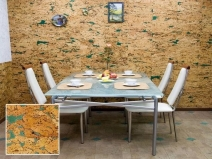 Пробковые стены в кухне