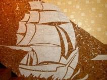 Аппликация морской тематики на пробковой стене