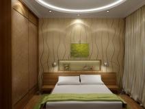 Дизайн спальни выполнен с использованием извилистых линий