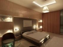 Дизайн спальни с использованием разных типов освещения
