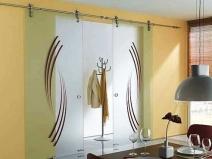 Стеклянные раздвижные двери с двумя створками