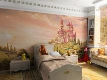 """Роспись """"Сказочный замок"""" на стене детской"""